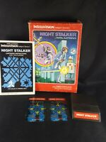 Night Stalker Intellivision Mattel Game Complete 2 Overlays Instructions & Box