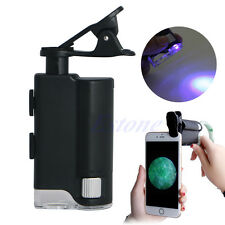 60X-100X LED Zoom Universal Jeweler Magnifier Clip Microscope Lens UV For iPhone