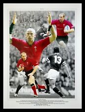 More details for gareth thomas hand signed  12x16 wales rugby montage