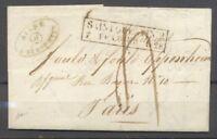 1828 Lettre Cachet d'essai rare SAINT QUENTIN 2/7 FEVRIER 1828. indice 23. X1394