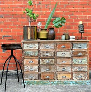 Shabby Chic Distressed French Country Recycled Timber Multi-Drawer Sideboard