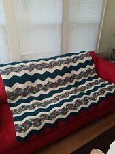 "Crocheted Afghan Green, Ivory, Variegated Zig Zag, Handmade, EUC, 84"" x 56"""