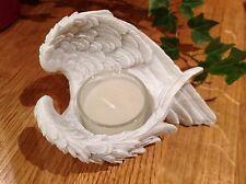 Lovely White Resin Healing Angel Wings Candle Tea Light Holders
