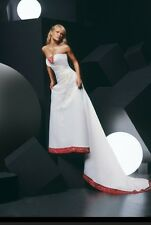 WEDDING DRESS, Designer: Impressions; Style #2655, Color: White and Ruby, Bust S
