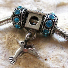 Hummingbird Birdhouse European Bead With Birthstone Spacers For Charm Bracelets