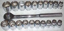 """21 pc Thorsen Tool 1/2"""" Metric & SAE Socket Set w 10"""" Ratchet"""