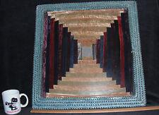 Authentic Bob Self Tramp Art Frame Antique Mohair Nine Patch Center Quilt Sample