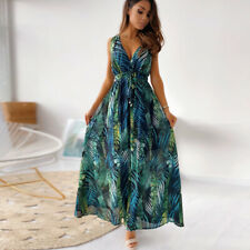 Womens Floral Summer Boho Maxi Dress Ladies V Neck Casual Holiday Sundress UK