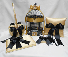 Gold Black Flower Girl Basket Ring Pillow Guest Book Pen Birdcage Your Colors