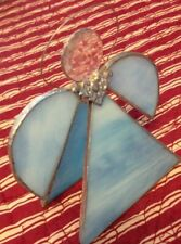 Handcrafted Stained Glass Suncatcher Beveled Angel Light Blue Sun catcher