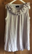 AX Paris Bubble Hem Grey Dress With Ruffles And Beading At Neck, Size 14