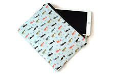 CANVAS CAT TABLET IPAD CASE COVER / HANDBAG / PURSE WITH CHAIN 11 X 8 INCHES