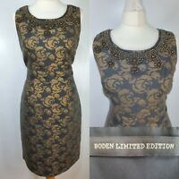 Boden Limited Edition Grey Gold Floral Print Beaded Fitted Shift Dress Size 12