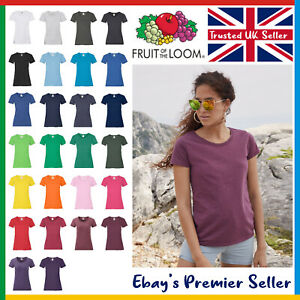 Ladies Plain T-Shirt / Fruit of the Loom Valueweight / Womens New Blank Tee