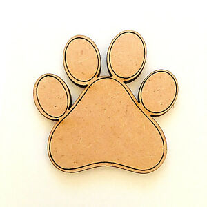 Wooden MDF Dog Paw Shapes Print Animal Paws Cat Paws Embellishments Craft Blank