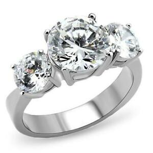Women's Stainless Steel Round Ring Size 5-10 Engagement Ring Band Wedding 168