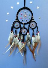 APACHE DREAM CATCHER traditional style INDIAN WARRIOR dreamcatcher BLACK 9cm