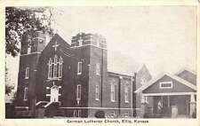 Ellis Kansas German Lutheran Church Street View Antique Postcard K42960