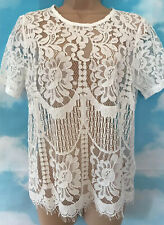 NEXT 10 BNWT White Lace Short Sleeve Blouse Tunic Party Top