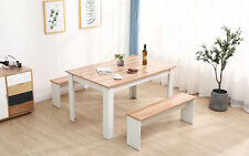 Solid Wood Dining Table and 2 Bench Set Oak Dining Room Kitchen Home Furniture