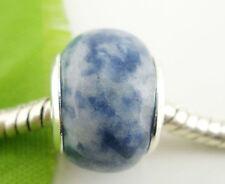 Blue SODALITE Gemstone CHARM BEAD For 3mm European Style BRACELET - 2NDS