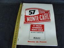 57° rallye Monte Carlo 1989 dossier programma equipaggi tappe Lancia Fiat Abarth
