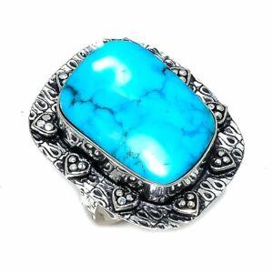 Arizona Turquoise Gemstone Handmade 925 Sterling Silver Ring Size 7.5