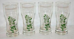 Leprechaun Irish Beer Glass St Patricks Day Party Celebrate Set of 4
