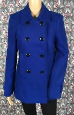 NWOT F&F Women's Blue Wool Blend Peacoat Coat Double Breast Buttons EUR 38