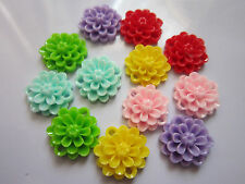 40 x  Opaque Resin Cabochons Flower flat back Decorations mix 14 mm with holes