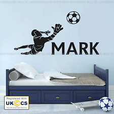 Personalised FOOTBALL GOAL KEEPER any Name Boys Bedroom Wall Art Mural Sticker