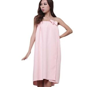 Women Bath Towel Bow Tube Dress Body Wraps Absorbent Microfiber Sauna Gown Robe