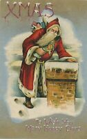 CHRISTMAS – Santa Claus ~at Chimney with Dolls and Toys~Antique Postcard-a354