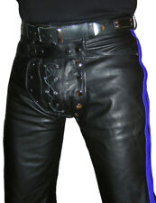 Lederhose schwarz blau Hose gay Lederjeans NEU Cod piece leather pants trousers