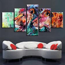 Abstract Lion Couple Animal Painting 5 Panel Canvas Print Wall Art Home Decor