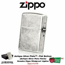 Zippo Antique Silver Plate Lighter, Reg Flat Bottom, Genuine Windproof #121FB