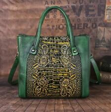 Women Genuine Cow Leather Shoulder Bag Messenger Embossed Handbag Travel Strap