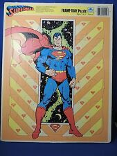 Large Superman Golden Frame Tray Puzzle EUC 1989 DC Comics Toy