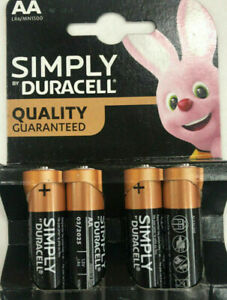 AA Genuine Duracell Simply AA Batteries LR6 4 LONG EXPIRY 2031 Uk