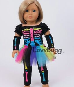 """Neon Skeleton Costume Set for American Girl 18"""" Doll Clothes $1 SHIP ADD-ONS🐞"""