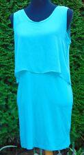 Metaphor Teal Chiffon Top Jersey Knit Body Conscious Tank Dress NWT Size Medium