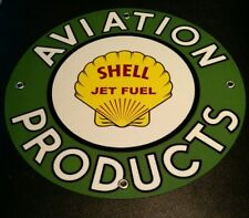 """Shell Aviation Products Jet Fuel Oil gasoline sign ... round ~12"""""""