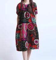 Women Knee Length Dress Cotton Linen Casual Boho Floral Print Baggy Short Sleeve