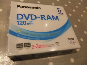 "PANASONIC 5 DVD - RAM "" 4.7 GB 120 MINS "" REWRITABLE DVD RAM "" [ NEW ]"
