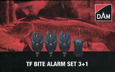 DAM ® TF Bite Alarm Set 3+1 Funk Bissanzeiger Set LED Rot-Grün-Blau +Koffer