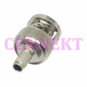10pcs BNC male plug crimp RG58 RG142 RG400 LMR195 RF connector