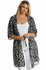 New Womens Plus Size Cardigan Ladies Chiffon Floral Print Front Tie Cardigan