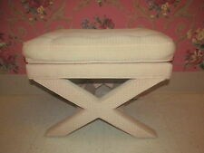 Upholstered Vanity X Legs Bench to Reupholster may be Ethan Allen