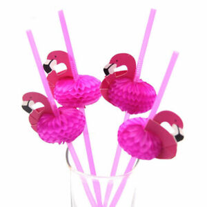 10-100Pcs Flamingo Pink Straw Cocktails Drink Party Tableware Decor Tool