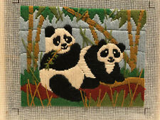 "Vintage The Creative Circle Crewel Embroidery 1425 ""Peking Pandas"" 1983 Finished"